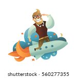 colored startup man composition ... | Shutterstock .eps vector #560277355