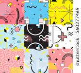 Set of colorful seamless patterns in memphis style with wavy lines and geometric figures isolated vector illustration   Shutterstock vector #560277469