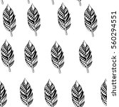 decorative feathers. hand drawn ... | Shutterstock .eps vector #560294551