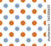 seamless pattern   flowers on... | Shutterstock .eps vector #560300635