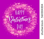 valentines hearts wreath... | Shutterstock .eps vector #560304304