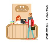 fitness club reception counter... | Shutterstock .eps vector #560305021