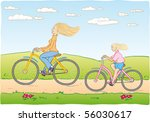 mother and daughter cycling | Shutterstock .eps vector #56030617