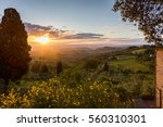 the countryside of tuscany at... | Shutterstock . vector #560310301
