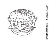 Hamburger Outline Vector...