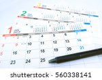 japanese calendar and pen | Shutterstock . vector #560338141