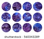 watercolor set of zodiac signs. ... | Shutterstock . vector #560343289