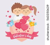 valentine's day greeting card.... | Shutterstock .eps vector #560350639