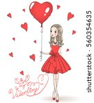 beautiful  cute  romantic girl... | Shutterstock .eps vector #560354635