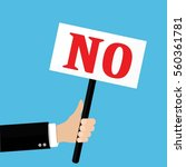 hands holds sign with no word.... | Shutterstock . vector #560361781