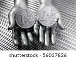 two silver euro coins in...   Shutterstock . vector #56037826