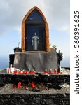 Small photo of christian catholic altar outside on a cliff in Madeira