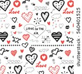doodle hearts  valentine's day... | Shutterstock .eps vector #560401525