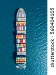 container ship in export and... | Shutterstock . vector #560404105