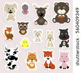 Stock vector set of children s stickers of cute animals in cartoon style collection baby stripes labels and 560409349