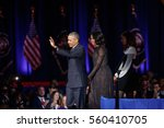 Small photo of U.S. President Barack Obama his wife Michelle and their daughter Melia acknowledge the crowd after President Obama delivered a farewell address at McCormick Place in Chicago, January 10, 2017.