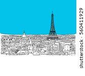 paris skyline  hand drawn... | Shutterstock .eps vector #560411929