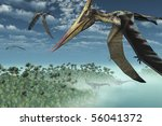 Three Pteranodon Longicepts fly over a misty prehistoric seascape, with two diplodocus dinosaurs near the shore - 3D render. - stock photo