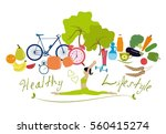 healthy lifestyle vector... | Shutterstock .eps vector #560415274