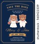 cute bear couple cartoon... | Shutterstock .eps vector #560422339