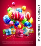 luxury colorful balloons ... | Shutterstock .eps vector #560425375