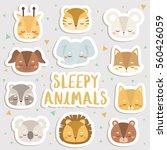 big set of cute cartoon sleepy... | Shutterstock .eps vector #560426059