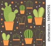 cacti in pots. vector pattern. | Shutterstock .eps vector #560429701