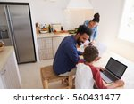 parents helping kids with... | Shutterstock . vector #560431477