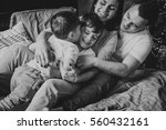 mother  father and two sons  on ... | Shutterstock . vector #560432161