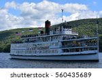 Small photo of LAKE GEORGE, NY - SEP 24: Lac Du Saint Sacrement cruise on Lake George in New York, as seen on Sep 24, 2016. It is a long, oligotrophic lake located at the southeast base of the Adirondack Mountains.