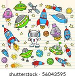 outer space doodle notebook... | Shutterstock .eps vector #56043595