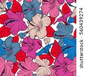 hibiscus in red  pink and blue... | Shutterstock .eps vector #560439274
