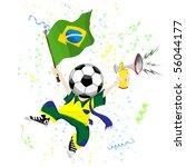 brazilian soccer fan with ball... | Shutterstock . vector #56044177
