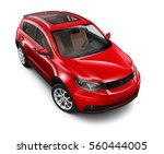compact red suv   3d render on... | Shutterstock . vector #560444005
