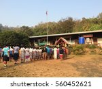 Small photo of Tha Song Yang, Tak, Thailand, 26 February 2016: Children line up during morning assembly before school start, country area border between Thailand and Myanmar (Burma)