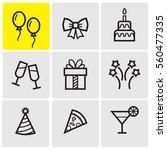 celebration line icons | Shutterstock .eps vector #560477335