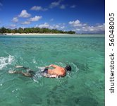 snorkeling in mauritius with... | Shutterstock . vector #56048005