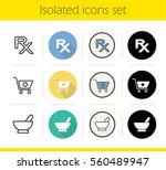 pharmacy icons set. flat design ... | Shutterstock .eps vector #560489947