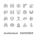 Simple Set of Business People Related Vector Line Icons.  Contains such Icons as One-on-One Meeting, Workplace, Business Communication, Team Structure and more. Editable Stroke. 48x48 Pixel Perfect. | Shutterstock vector #560505805