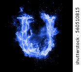 Fire Letter U Of Burning Blue...