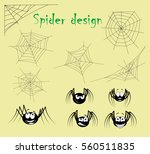 Set Of Spider Web And Cartoon...