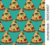 all seeing eye illuminati pizza ...   Shutterstock .eps vector #560514007