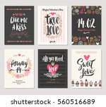 vector set of valentine's day... | Shutterstock .eps vector #560516689