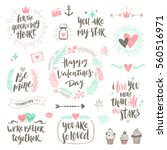 valentine's day hand drawn... | Shutterstock .eps vector #560516971
