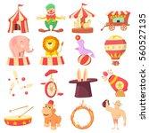 circus icons set. cartoon... | Shutterstock . vector #560527135