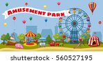 kids amusement park landscape... | Shutterstock . vector #560527195