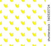 yellow bird pattern. cartoon... | Shutterstock . vector #560535724