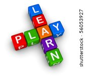 Learn and Play (colorful blocks on white background) - stock photo
