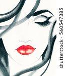 beautiful woman face. fashion... | Shutterstock . vector #560547385