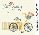 spring card with bicycle ... | Shutterstock .eps vector #560548237